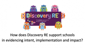 How does Discovery RE support schools in evidencing intent implementation and impact (article)