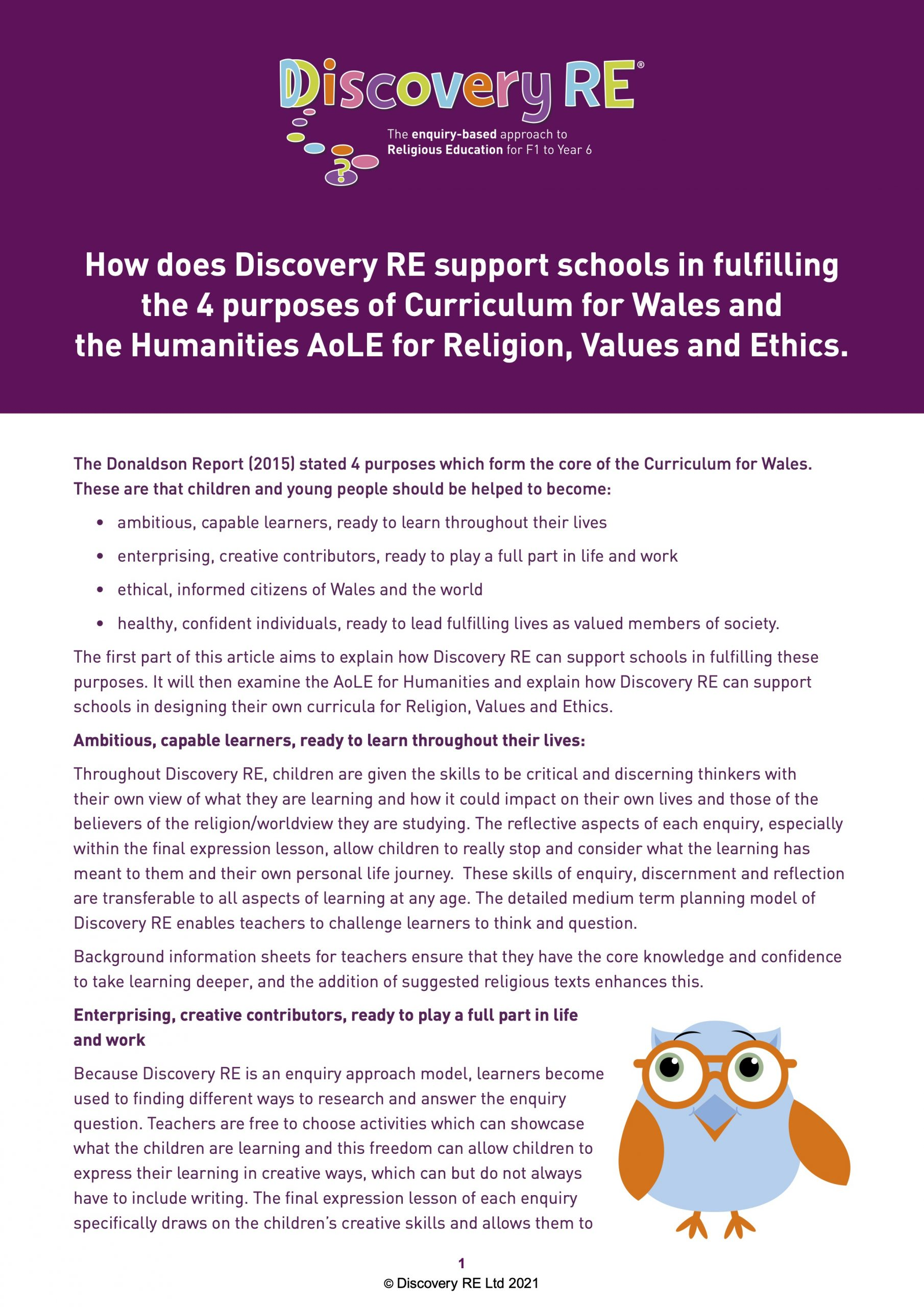 Discovery RE and Curriculum for Wales and Humanities AoLE for Religion, Values and Ethics